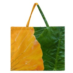 Wet Yellow And Green Leaves Abstract Pattern Zipper Large Tote Bag