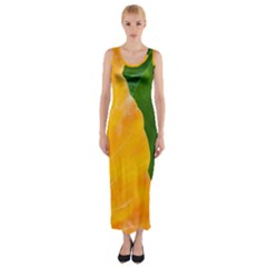 Wet Yellow And Green Leaves Abstract Pattern Fitted Maxi Dress