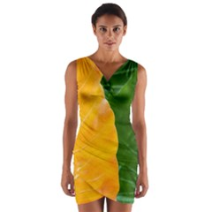 Wet Yellow And Green Leaves Abstract Pattern Wrap Front Bodycon Dress