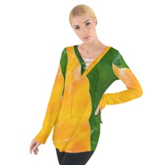 Wet Yellow And Green Leaves Abstract Pattern Women s Tie Up Tee