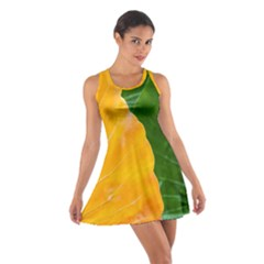Wet Yellow And Green Leaves Abstract Pattern Cotton Racerback Dress