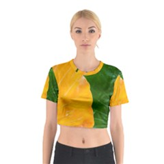Wet Yellow And Green Leaves Abstract Pattern Cotton Crop Top