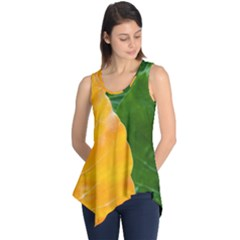 Wet Yellow And Green Leaves Abstract Pattern Sleeveless Tunic