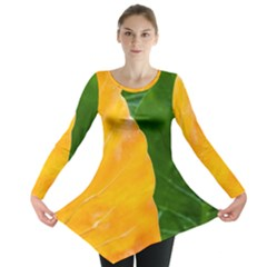 Wet Yellow And Green Leaves Abstract Pattern Long Sleeve Tunic