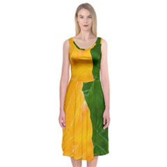 Wet Yellow And Green Leaves Abstract Pattern Midi Sleeveless Dress