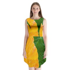 Wet Yellow And Green Leaves Abstract Pattern Sleeveless Chiffon Dress
