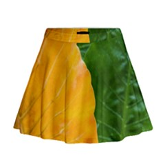 Wet Yellow And Green Leaves Abstract Pattern Mini Flare Skirt