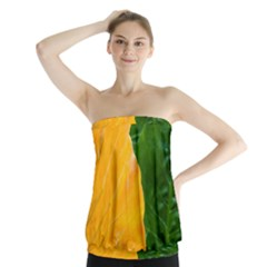 Wet Yellow And Green Leaves Abstract Pattern Strapless Top
