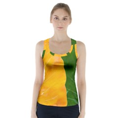 Wet Yellow And Green Leaves Abstract Pattern Racer Back Sports Top