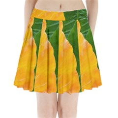 Wet Yellow And Green Leaves Abstract Pattern Pleated Mini Skirt