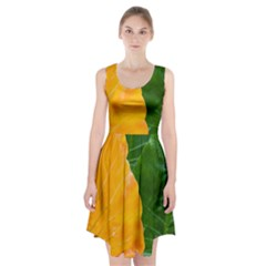 Wet Yellow And Green Leaves Abstract Pattern Racerback Midi Dress