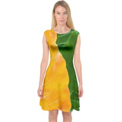 Wet Yellow And Green Leaves Abstract Pattern Capsleeve Midi Dress