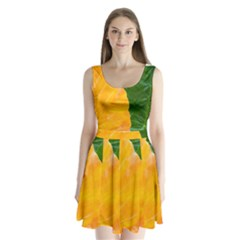 Wet Yellow And Green Leaves Abstract Pattern Split Back Mini Dress