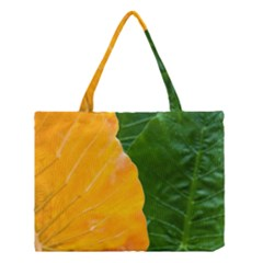 Wet Yellow And Green Leaves Abstract Pattern Medium Tote Bag