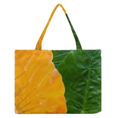 Wet Yellow And Green Leaves Abstract Pattern Medium Zipper Tote Bag