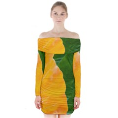 Wet Yellow And Green Leaves Abstract Pattern Long Sleeve Off Shoulder Dress