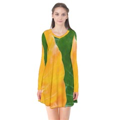 Wet Yellow And Green Leaves Abstract Pattern Flare Dress