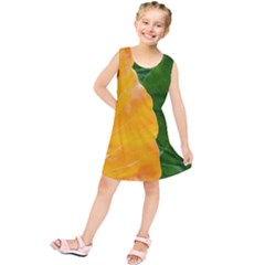 Wet Yellow And Green Leaves Abstract Pattern Kids  Tunic Dress