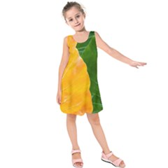 Wet Yellow And Green Leaves Abstract Pattern Kids  Sleeveless Dress