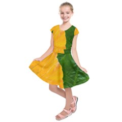 Wet Yellow And Green Leaves Abstract Pattern Kids  Short Sleeve Dress