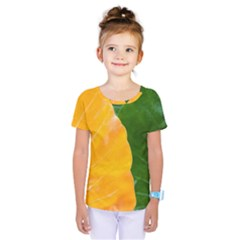 Wet Yellow And Green Leaves Abstract Pattern Kids  One Piece Tee