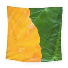 Wet Yellow And Green Leaves Abstract Pattern Square Tapestry (large)