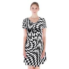 Whirl Short Sleeve V Neck Flare Dress