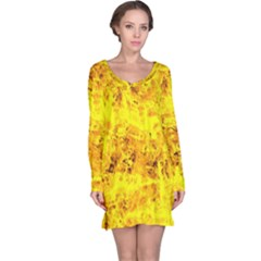 Yellow Abstract Background Long Sleeve Nightdress