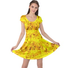 Yellow Abstract Background Cap Sleeve Dresses