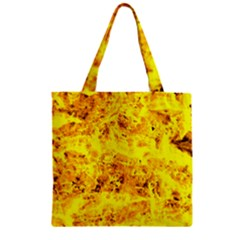 Yellow Abstract Background Zipper Grocery Tote Bag