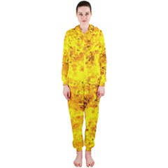Yellow Abstract Background Hooded Jumpsuit (ladies)