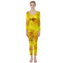 Yellow Abstract Background Long Sleeve Catsuit