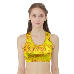 Yellow Abstract Background Sports Bra With Border