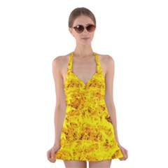 Yellow Abstract Background Halter Swimsuit Dress