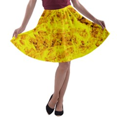 Yellow Abstract Background A Line Skater Skirt