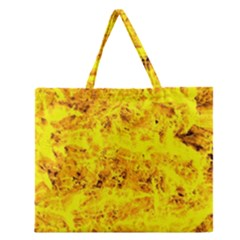 Yellow Abstract Background Zipper Large Tote Bag