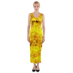 Yellow Abstract Background Fitted Maxi Dress