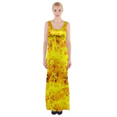 Yellow Abstract Background Maxi Thigh Split Dress