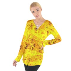 Yellow Abstract Background Women s Tie Up Tee