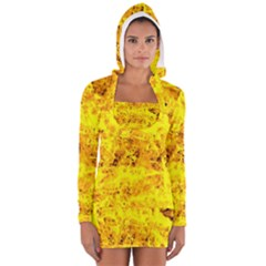 Yellow Abstract Background Women s Long Sleeve Hooded T-shirt