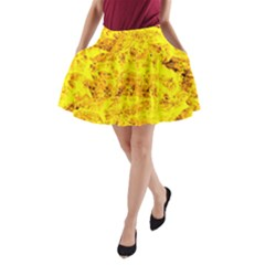 Yellow Abstract Background A Line Pocket Skirt