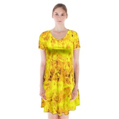 Yellow Abstract Background Short Sleeve V Neck Flare Dress