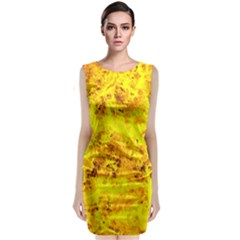 Yellow Abstract Background Classic Sleeveless Midi Dress
