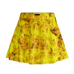 Yellow Abstract Background Mini Flare Skirt