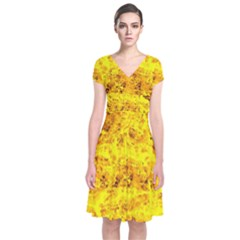 Yellow Abstract Background Short Sleeve Front Wrap Dress
