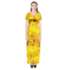 Yellow Abstract Background Short Sleeve Maxi Dress