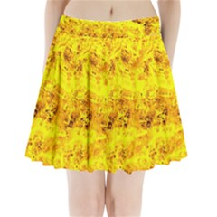 Yellow Abstract Background Pleated Mini Skirt