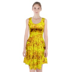 Yellow Abstract Background Racerback Midi Dress