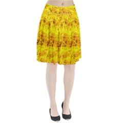 Yellow Abstract Background Pleated Skirt