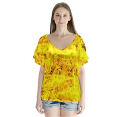 Yellow Abstract Background Flutter Sleeve Top